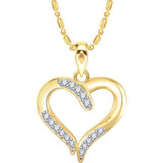 Vidhi Jewels Gold Plated Heart Diamond Studded Alloy  Brass Pendant  for Women  Girls VP251G