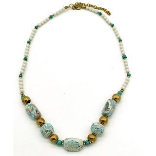 Master Piece Crafts Handmade White Multi Marble Necklace