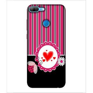 For Huawei Honor 9 Lite red heart ( stripes,heart,flower,nice pattern,stipes pattern ) Printed Designer Back Case Cover By Human Enterprise