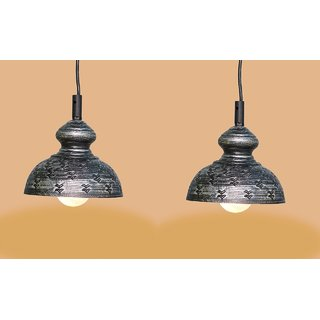 A&H  Black Color With Silver  Shading Iron  Pendant Light / Ceiling Lamp Ceiling Light / Hanging Lamp Hanging Light ( Pack of 2 )