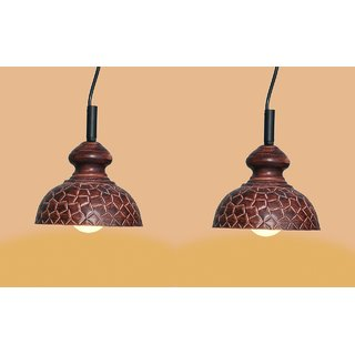 AH  Brown Color Geometrical Design Iron Pendant Light / Ceiling Lamp Ceiling Light / Hanging Lamp Hanging Light  ( Pack of 2 )