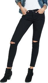 XEE Women Black Slim Fit Ripped Jeans