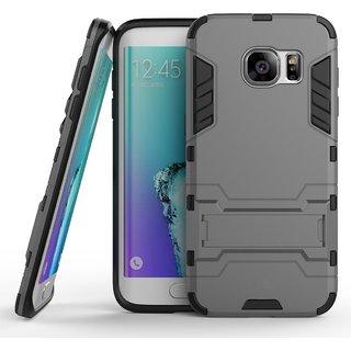 Samsung Galaxy S7 Edge  ,AnvikaTough Military Grade Version 3.0 IronMan design Armor Defender Series Dual Protection Layer Hybrid TPU + PC Kickstand Kick Stand Case Cover for Samsung Galaxy S7 Edge - Metal Grey