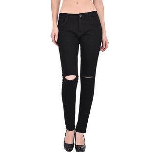 XEE Women Black Regular Fit Ripped Jeans