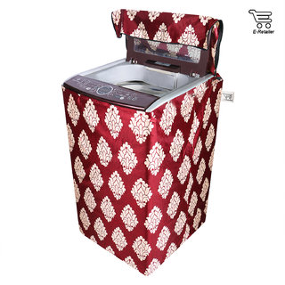 E-Retailer Classic Maroon Flower Design Top Load Washing Machine Cover (Suitable For 5kg To 8kg)
