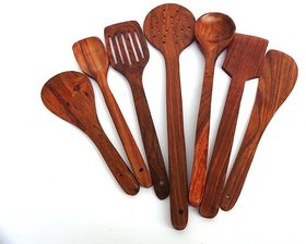 SG Shahi Kitchen Disposable Wooden Wooden Spoon Set (Pack of 7)