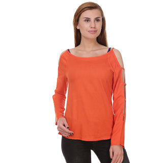 b12e09262b0914 Buy Jollify Orange Polyester Sleeve Cut with Bandage Top For Women Online -  Get 64% Off