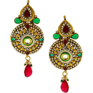 Anuradha Art Golden Finish Studded Maroon-Green Colour Shimmering Stone Traditional Earrings For Women/Girls