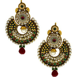 Anuradha Art Golden Finish Studded Multi Colour Stone Traditional Earrings For Women/Girls