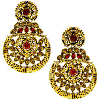 Anuradha Art Red-Gold Finish Designer Chandbali Styled Traditional Earrings For Women/Girls
