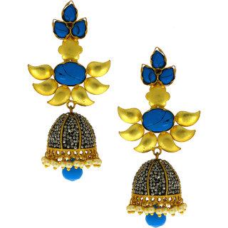 Anuradha Art Golden Finish Blue Colour Studded Shimmering Stone Traditional Earrings For Women/Girls