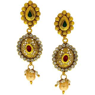 Anuradha Art Golden Finish Wonderful Green Colour Shimmering Stone Traditional Earrings For Women/Girls
