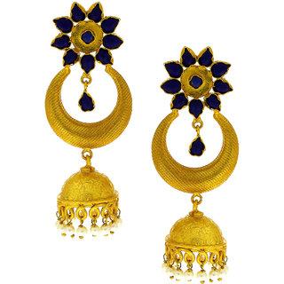 Anuradha Art Blue Colour Studded Shimmering Jhumki/humkas Styled Traditional Earrings For Women/Girls