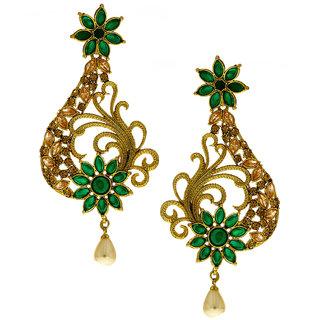 Anuradha Art Golden Finish Studded Green Colour Designer Traditional Earrings For Women/Girls