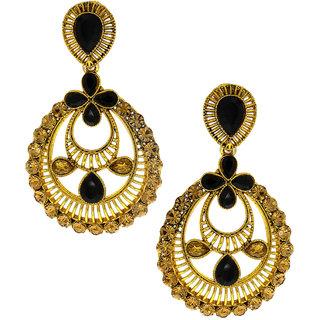 Anuradha Art Golden Finish Studded Black Colour Shimmering Stone Traditional Earrings For Women/Girls