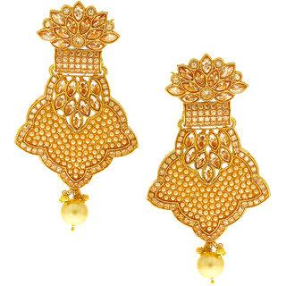 Anuradha Art Golden Finish Studded Peach Colour Shimmering Stone Traditional Earrings For Women/Girls