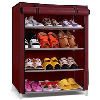 Trendy Shoe cabinet , 4-5 Layer Maroon Shoe Rack Organizer