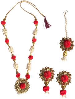 Loops n knots Red Gotta Patti Handmade Jewellery For Haldi  Mehandi  Wedding Pre-Shoot (ns044)