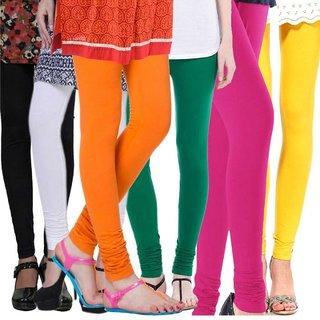 Klugger New Stylish Cotton Lycra Churidar Leggings pack of 6 (Free Size)