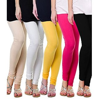 Klugger New Stylish Cotton Lycra Churidar Leggings pack of 5 (Free Size)