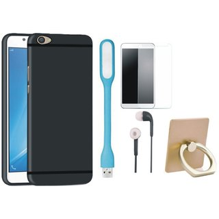 Moto C Cover with Ring Stand Holder, Tempered Glass, Earphones and USB LED Light