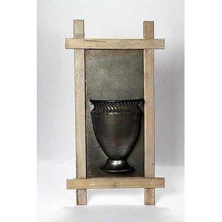 wooden framed mounted vase