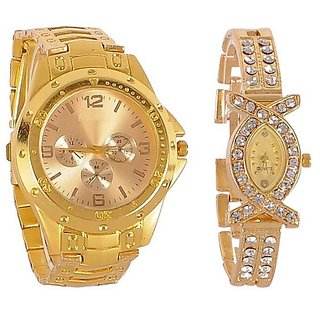 Varni Retail Full Gold Men And AKS Golden Diamond Women Couple Combo Watch For Couple