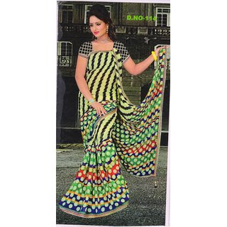 Party wear Chiffon Printed and embroidery designer saree with elegant border