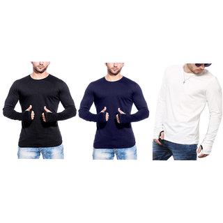 gWOWg Men's Round Neck Navy, White,Black T-Shirt  (Pack of 3)