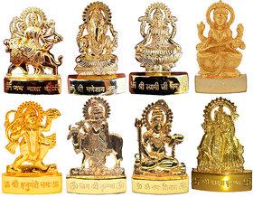 Ganesh Laxmi Durga Saraswati Hanuman Shiv Radha Krishna Gai Krishna Gold Plated- 8 Pcs