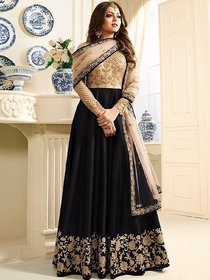 Salwar Soul Womens Black Banglory Silk ANd Net womens Semi Stitched Long Anarkali Suit For Girls