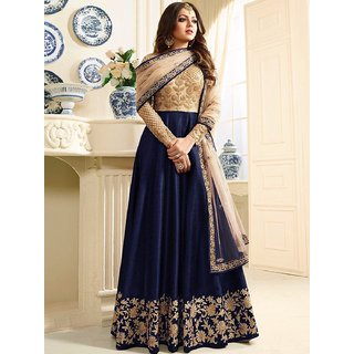 Salwar Soul Womens Blue Banglory Silk And Net womens Party Wear Semi Stitched Long Anarkali Suit For Womens  Girls