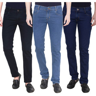 Masterly weft Multicolored Pack Of 3 Slim Jeans For men