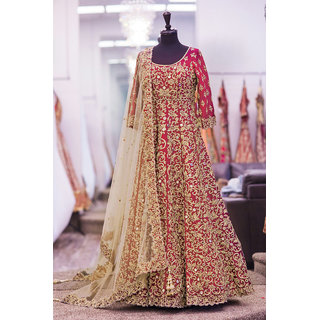 Salwar Soul New Designer Red Embroidery Work Semi Stitched Wedding Salwar Suit For Womens Girls