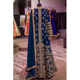 Salwar Soul New Designer Blue Banglory Silk Embroidery Semi-Stitched Wedding Salwar Suit For Girls  Womens