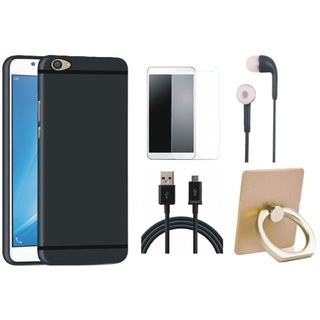 Vivo V7 Soft Silicon Slim Fit Back Cover with Ring Stand Holder, Earphones, Tempered Glass and USB Cable