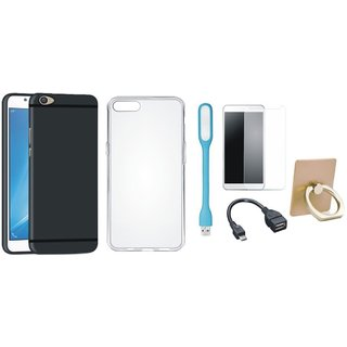 Lenovo K6 Note Stylish Back Cover with Ring Stand Holder, Silicon Back Cover, Tempered Glass, USB LED Light and OTG Cable