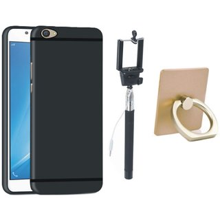 Vivo V7 Silicon Slim Fit Back Cover with Ring Stand Holder, Free Silicon Back Cover and Selfie Stick