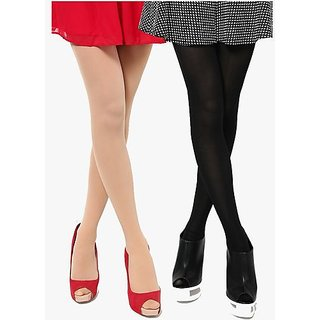 Pack of 2 Full Length Stocking Black andSkin