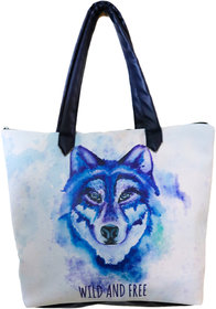 Folle Wolf Face Digitally Printed Tote Bag