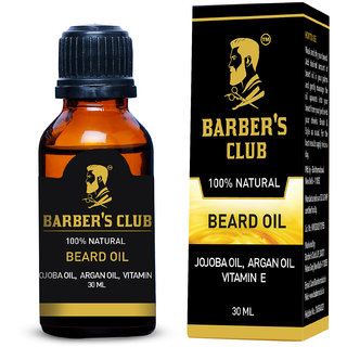Barbers Club Beard Oil (Organic Natural Argan Oil Jojoba Oil Vitamin E) -30ml