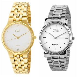HWT Round  White Dail Golden And Silver Metal Mens Watches Combo