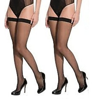Pack of 2 Full Length Stockings-Black