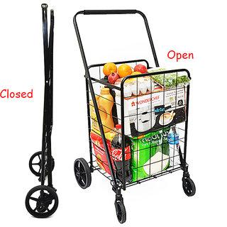 MAC CART Folding Personal Shopping Trolley With Wheels 50Kgs Capacity Swivel Wheels for 360 Rotation