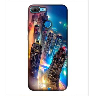 Printed Cover awesome view of city ( Boats in the sea, lightened buildings, colourful lighting) Printed Designer Back Case Cover for Huawei Honor 9 Lite