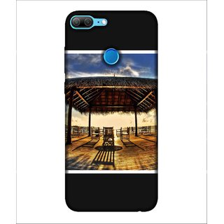 Printed Cover beach side  ( wooden chairs, blue sky, Shelter on the beach, cloudy sky) Printed Designer Back Case Cover for Huawei Honor 9 Lite