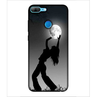 Printed Cover Grey background ( Girl in dark, Girl holding the moon, shiny moon) Printed Designer Back Case Cover for Huawei Honor 9 Lite