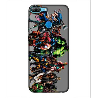 Printed Cover warriors ( super heroes, grey background, spider, bat, iron mask) Printed Designer Back Case Cover for Huawei Honor 9 Lite