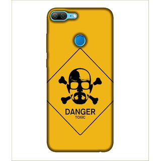 Printed Cover Danger zone ( sign of Danger, Danger toxic, yellow background, bearded man) Printed Designer Back Case Cover for Huawei Honor 9 Lite