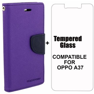 BRAND FUSON Mercury Diary Wallet Flip Case Cover for OPPO A37 Purple Premium Quality + Tempered Glass